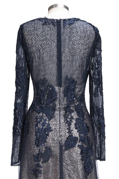 ODETTE | A-line Long Sleeves Floor Length Appliqued Tulle Prom Dresses_5