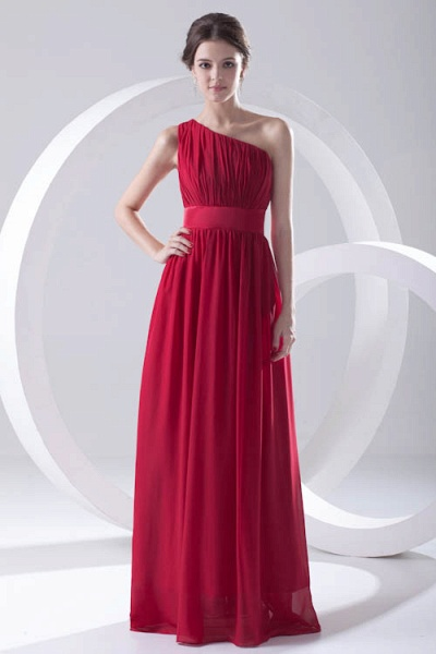 Excellent One Shoulder Chiffon A-line Bridesmaid Dress_6