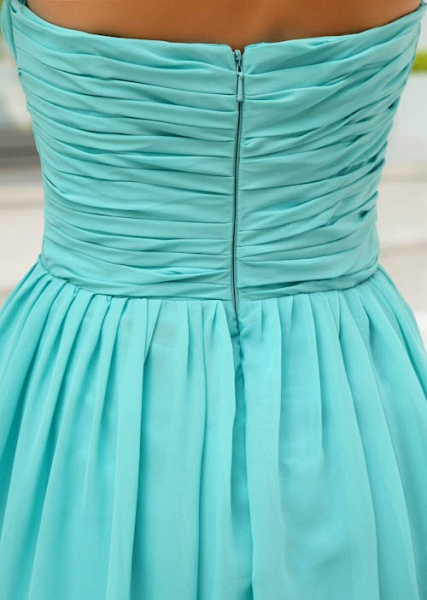 LANEY | A Type Heart-shaped Knee Length Sleeveless Chiffon Jade Green Bridesmaid Dress with Fold_7