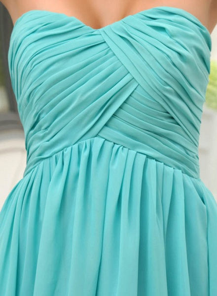 LANEY | A Type Heart-shaped Knee Length Sleeveless Chiffon Jade Green Bridesmaid Dress with Fold_8