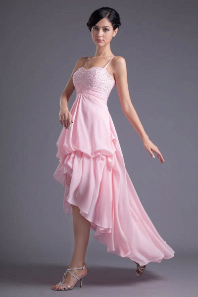 LEA | A Type Heart-shaped Short Before Long Sleeveless Chiffon Candy Pink Bridesmaid Dress with Fold_4