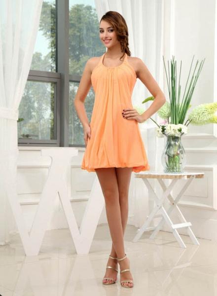 LANDRY | A Type Round Neck Knee Length Sleeveless Chiffon Orange Bridesmaid Dress with Small folds_4