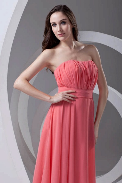 LILIAN | A-line Strapless Sleeveless Floor Length Chiffon Bridesmaid Dresses_7