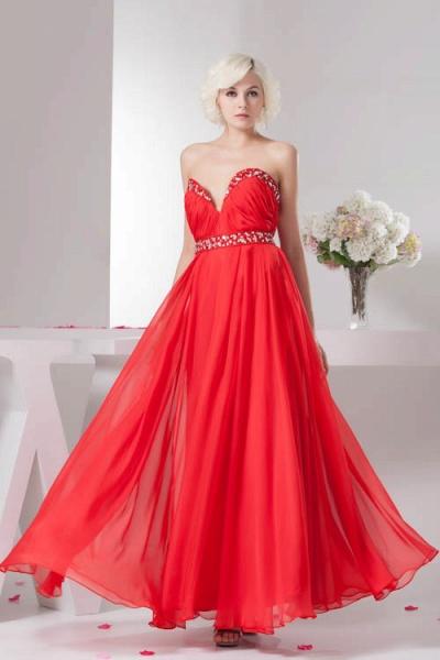 KYLA | A Type V-Neck Red Chiffon Bridesmaid Dress with Rhinestone_1