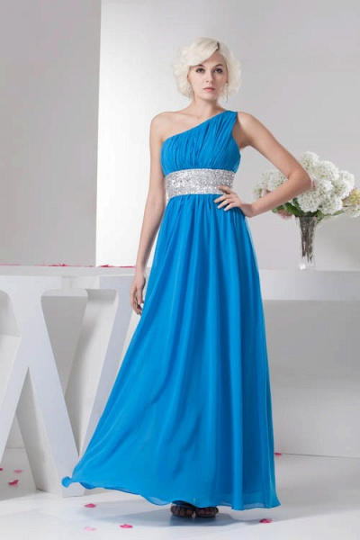 Amazing One Shoulder Chiffon A-line Bridesmaid Dress_1