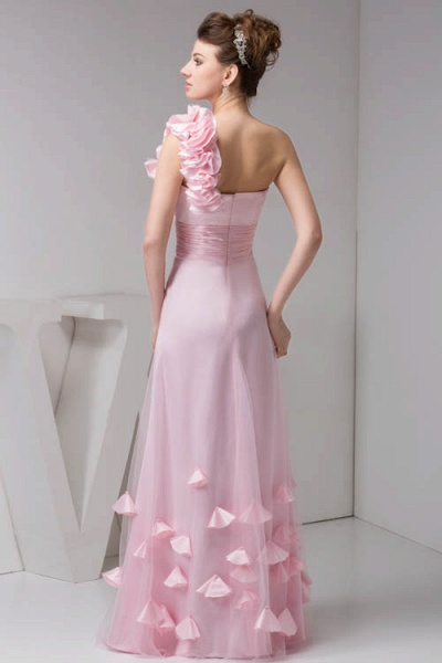 Amazing One Shoulder Chiffon Column Evening Dress_7