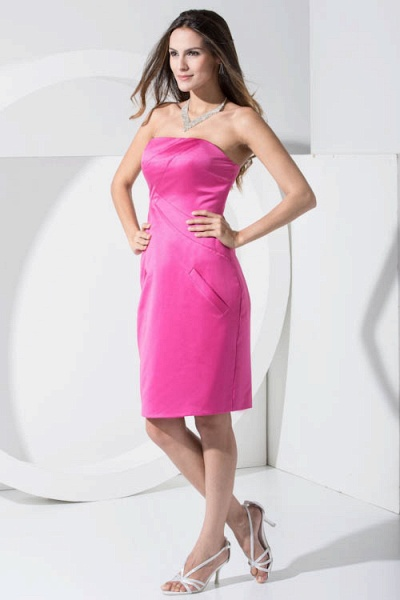 LAINEY | A Type Bra Knee Length Sleeveless Chiffon Rose Red Bridesmaid Dress with Pocket_3
