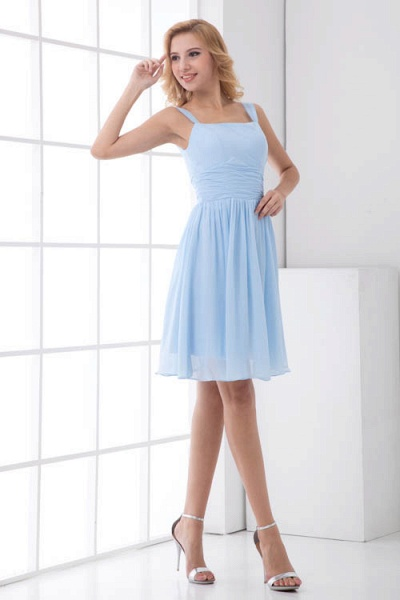 Square Neck Ruffle A-line Chiffon Bridesmaid Dress_7