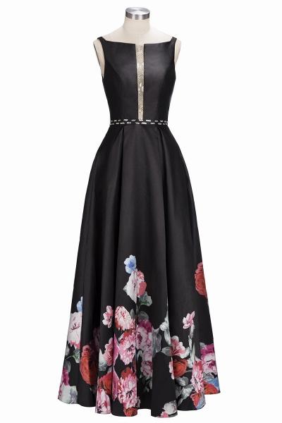 OLIVIA | A-line Floor Length Sleeveless Black Printed Flowers Prom Dresses_1