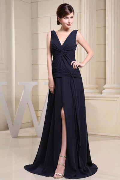 KIMORA | A Type V-Neck Chiffon Navy Blue Bridesmaid Dress with Fold_1