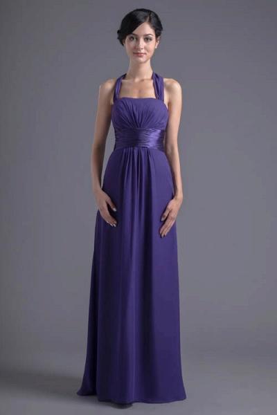 Sleek Halter Chiffon A-line Bridesmaid Dress_7