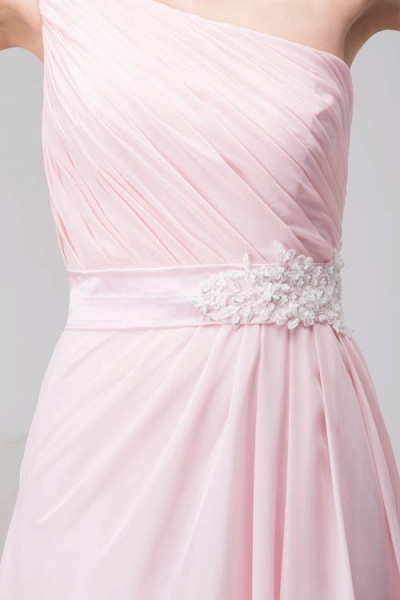 LAUREL | A Type Shoulder Drag To Long Sleeveless Chiffon Pink Bridesmaid Dress with Belt_8