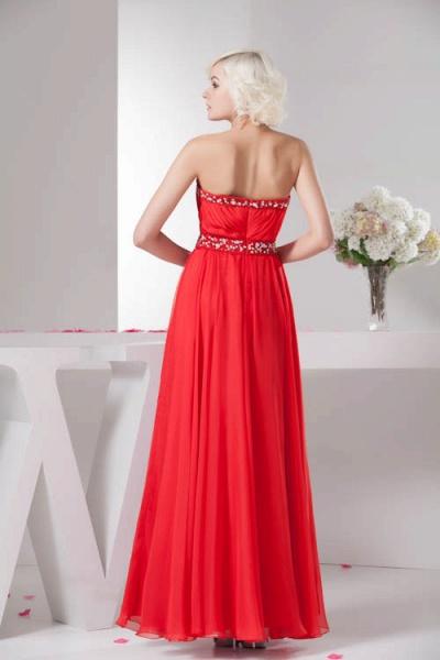 KYLA | A Type V-Neck Red Chiffon Bridesmaid Dress with Rhinestone_6