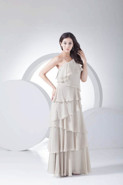 Fascinating One Shoulder Chiffon A-line Bridesmaid Dress_6