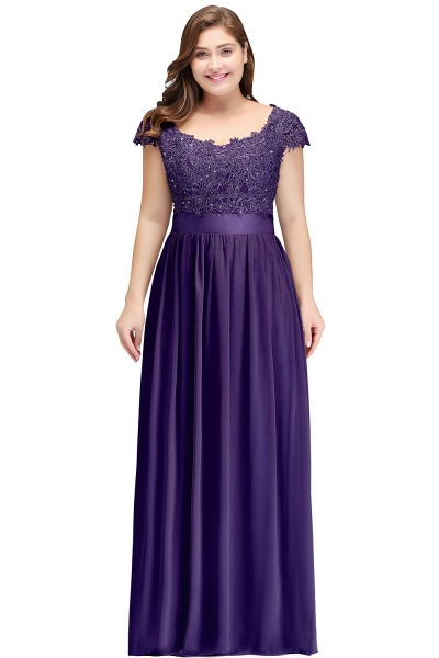 HOLLAND | A-Line Scoop Floor Length Cap Sleeves Appliques Silver Plus Size Evening Dresses with Sash_2