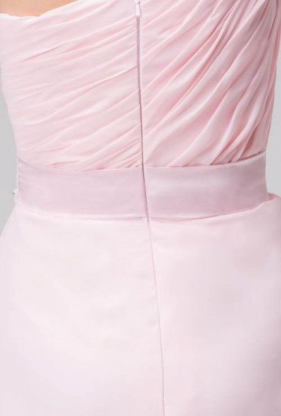 LAUREL | A Type Shoulder Drag To Long Sleeveless Chiffon Pink Bridesmaid Dress with Belt_9