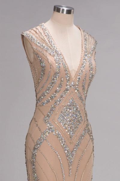 NAN | Mermaid V-neck Floor Length Sleeveless Sequins Prom Dresses_4