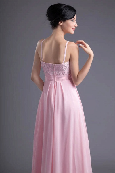 LEA | A Type Heart-shaped Short Before Long Sleeveless Chiffon Candy Pink Bridesmaid Dress with Fold_7
