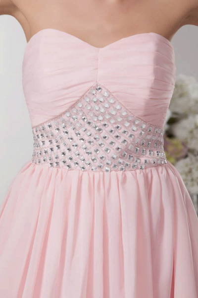KRISTINA | A Type Heart Collar Chiffon Bridesmaid Dress with Rhinestone_8