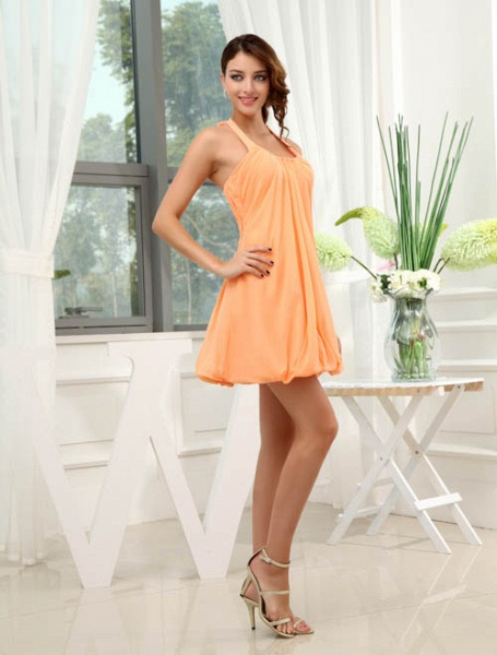 LANDRY | A Type Round Neck Knee Length Sleeveless Chiffon Orange Bridesmaid Dress with Small folds_3