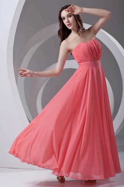 LILIAN | A-line Strapless Sleeveless Floor Length Chiffon Bridesmaid Dresses_6