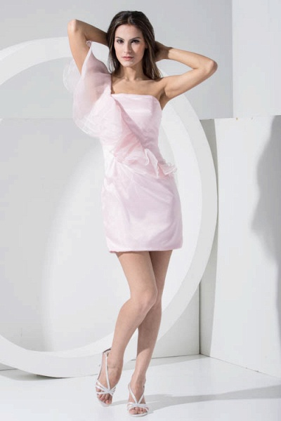 LAILA | A Type Shoulder Knee Length Sleeveless Chiffon Pink Bridesmaid Dress with Cross_1
