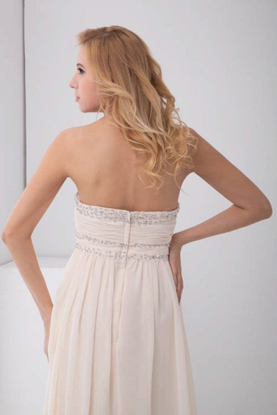 LEIA | A Type Bra Long Sleeveless Chiffon White Bridesmaid Dress with Small folds_7