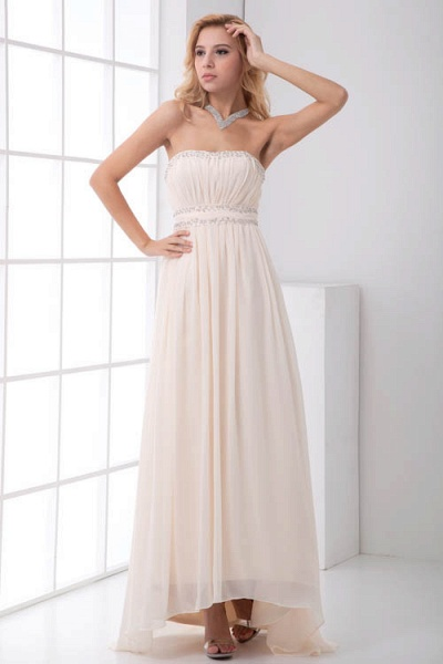 LEIA | A Type Bra Long Sleeveless Chiffon White Bridesmaid Dress with Small folds_1