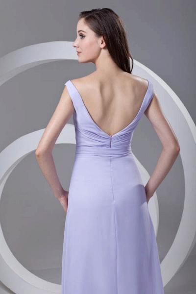 LERUC | A Type V-neck Long Sleeveless Chiffon Lilac Purple Bridesmaid Dress with Belt_7