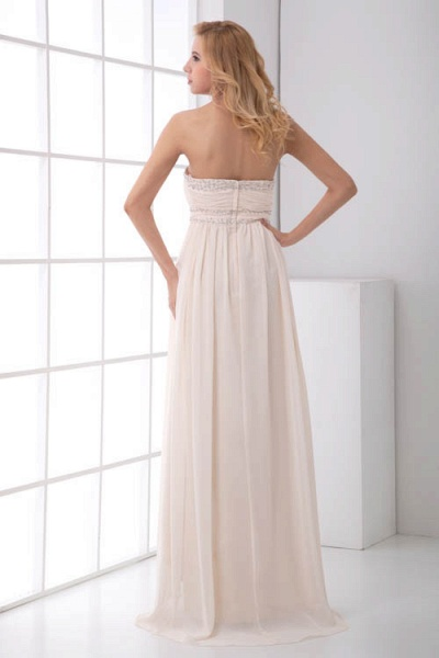 LEIA | A Type Bra Long Sleeveless Chiffon White Bridesmaid Dress with Small folds_6