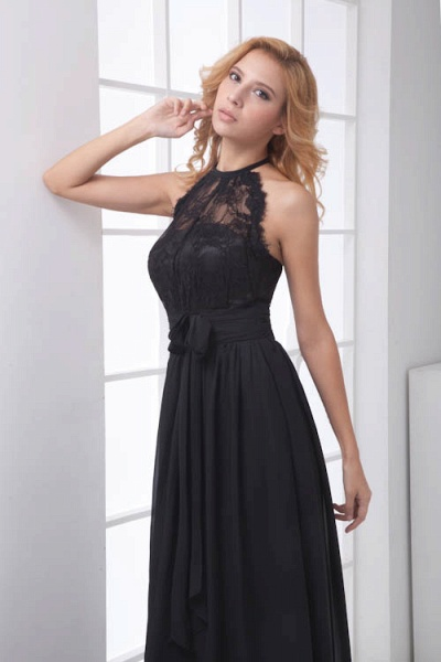 LEANNA | A Type Halter Long Sleeveless Chiffon Black Bridesmaid Dress with Lace_5