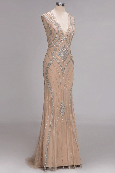 NAN | Mermaid V-neck Floor Length Sleeveless Sequins Prom Dresses_6
