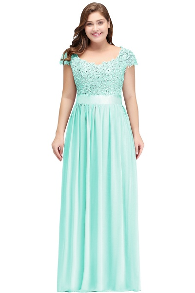 HOLLAND | A-Line Scoop Floor Length Cap Sleeves Appliques Silver Plus Size Evening Dresses with Sash_6