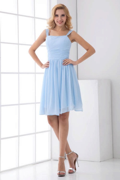 Square Neck Ruffle A-line Chiffon Bridesmaid Dress_8
