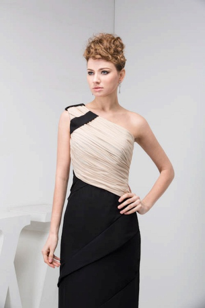 KRISTEN | A Type One Shoulder Black Chiffon Bridesmaid Dress with Fold_7