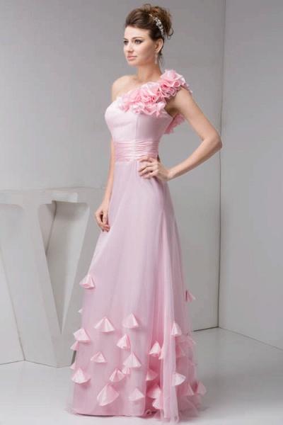Amazing One Shoulder Chiffon Column Evening Dress_3