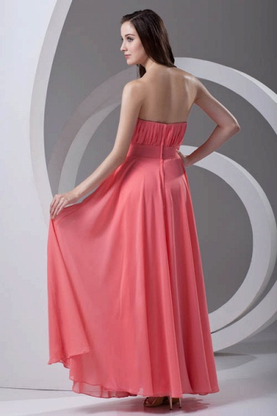 LILIAN | A-line Strapless Sleeveless Floor Length Chiffon Bridesmaid Dresses_3