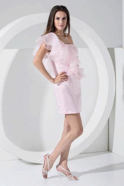 LAILA | A Type Shoulder Knee Length Sleeveless Chiffon Pink Bridesmaid Dress with Cross_3