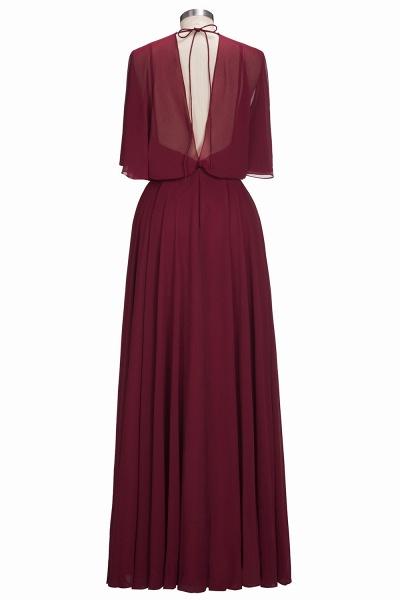 OLGA | A-line V-neck Floor Length Burgundy Chiffon Bridesmaid Dresses_3