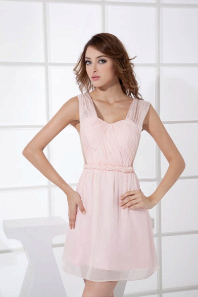 LEONA | A-line Scoop Mini Chiffon Bridesmaid Dresses_1