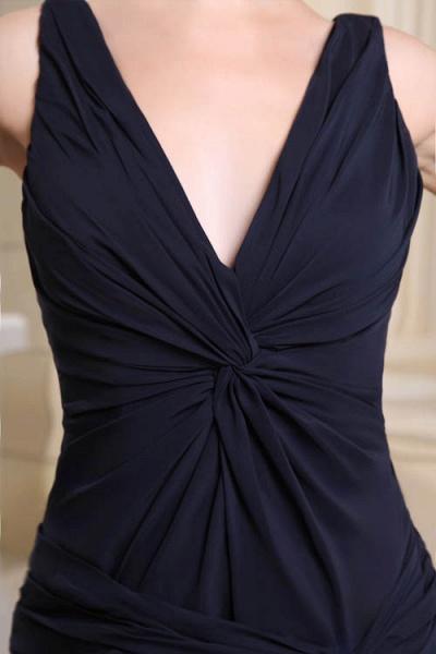KIMORA | A Type V-Neck Chiffon Navy Blue Bridesmaid Dress with Fold_5