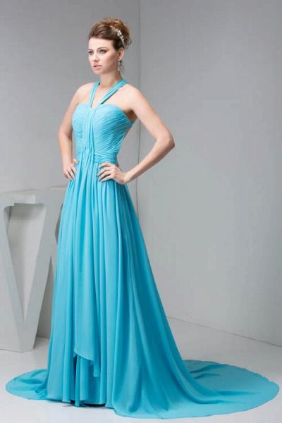 Excellent Halter Chiffon Princess Evening Dress_3