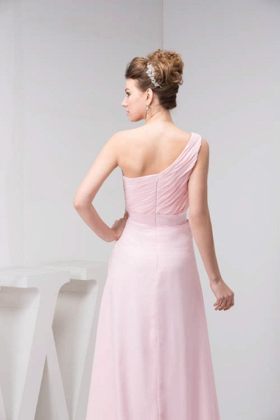 LAUREL | A Type Shoulder Drag To Long Sleeveless Chiffon Pink Bridesmaid Dress with Belt_7