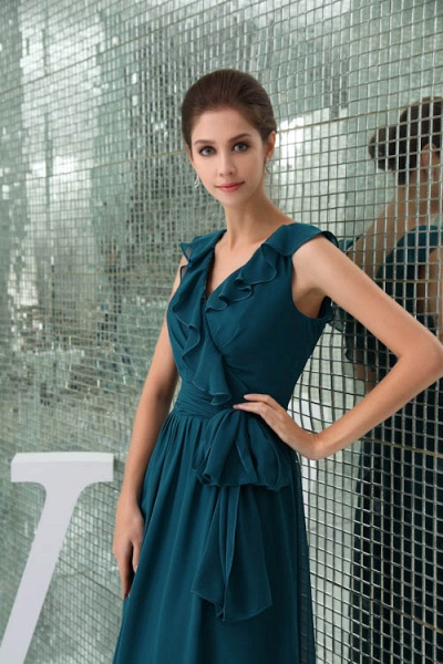 Affordable V-neck Chiffon A-line Bridesmaid Dress_4