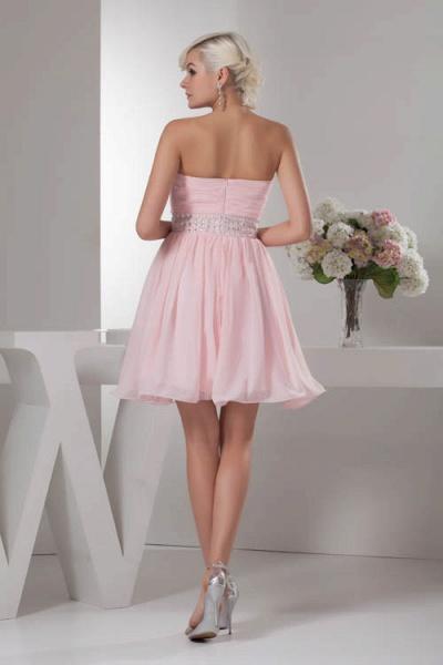 KRISTINA | A Type Heart Collar Chiffon Bridesmaid Dress with Rhinestone_3