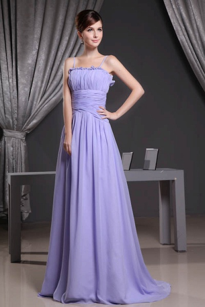 A Type Spaghetti Straps Chiffon Bridesmaid Dress with Fold_5