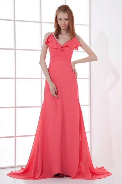 LEAH | A Type V-neck Drag To Long Sleeveless Chiffon Watermelon Red Bridesmaid Dress with Front Split_3