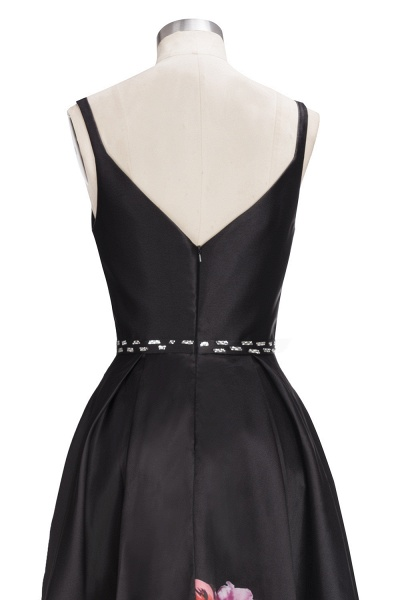 OLIVIA | A-line Floor Length Sleeveless Black Printed Flowers Prom Dresses_6