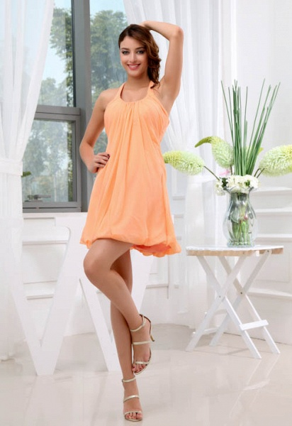 LANDRY | A Type Round Neck Knee Length Sleeveless Chiffon Orange Bridesmaid Dress with Small folds_1