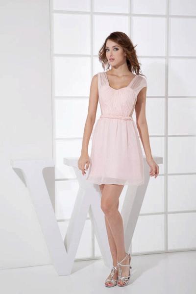 LEONA | A-line Scoop Mini Chiffon Bridesmaid Dresses_4